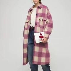 "ISABEL MARANT ÉTOILE ""FONTIZI""格纹羊毛毡长款大衣"