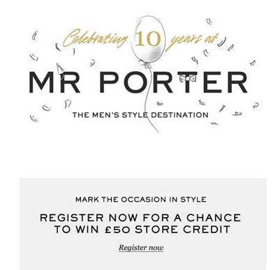 Mr. Porter 10周年:注册赢£50礼品卡