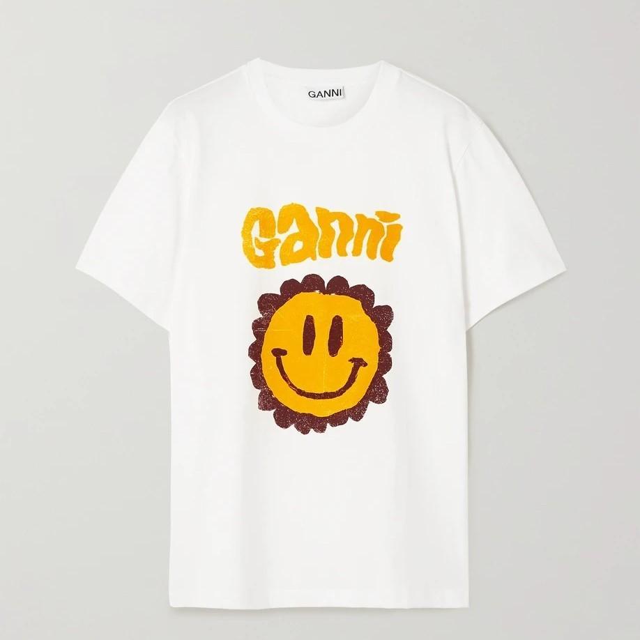 Ganni 白色笑脸T恤