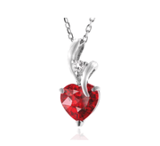 2.30 Carat Ruby & White Sapphire Heart Pendant in Sterling Silver with Chain2.3克拉心形吊坠项链