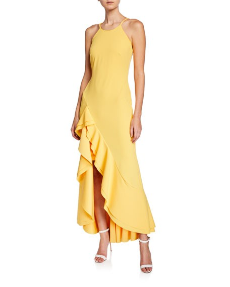 Bebe Ruffle-Hem Crepe Sheath Gown