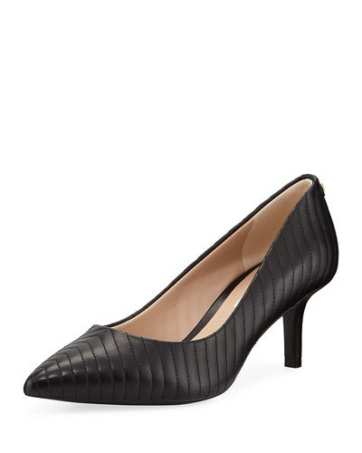 Karl Lagerfeld Paris Rosette Leather Chevron Pumps