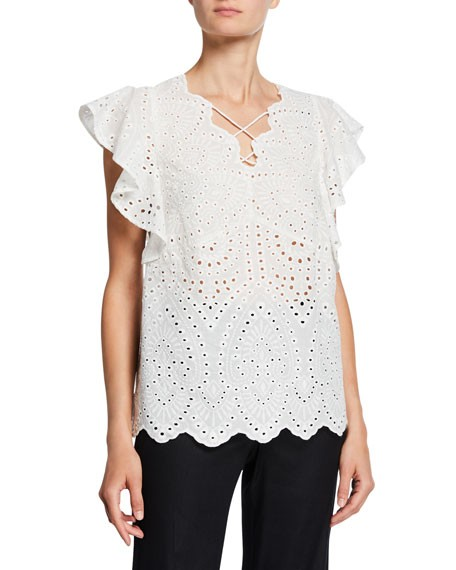 Laundry By Shelli Segal Eyelet Lace-Up Top