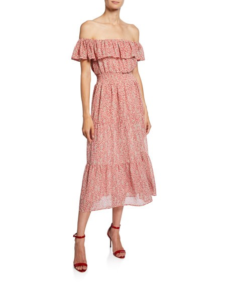 Stellah Off-the-Shoulder Ruffle Tiered Dress
