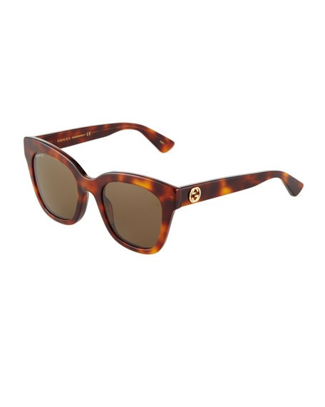 Gucci Monochromatic Cat-Eye Sunglasses, Tortoise