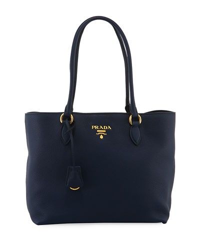 Prada Pebbled Leather Tote Bag