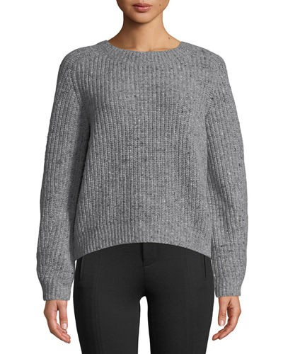 Vince Saddle Wool-Blend Cropped Sweater
