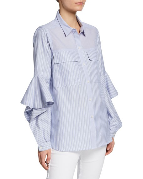 BCBGMAXAZRIA Striped Long-Sleeve Ruffle Top
