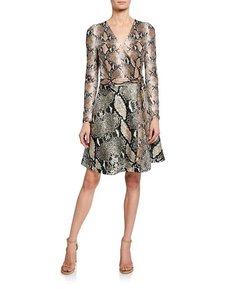 Diane von Furstenberg Amelia Python Long-Sleeve Wrap Dress