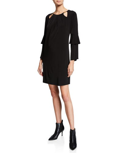 MICHAEL Michael Kors Chain-Neck Ruffle-Sleeve Shift Dress