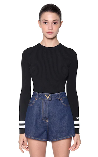 VALENTINO LOGO JACQUARD STRETCH KNIT SWEATER