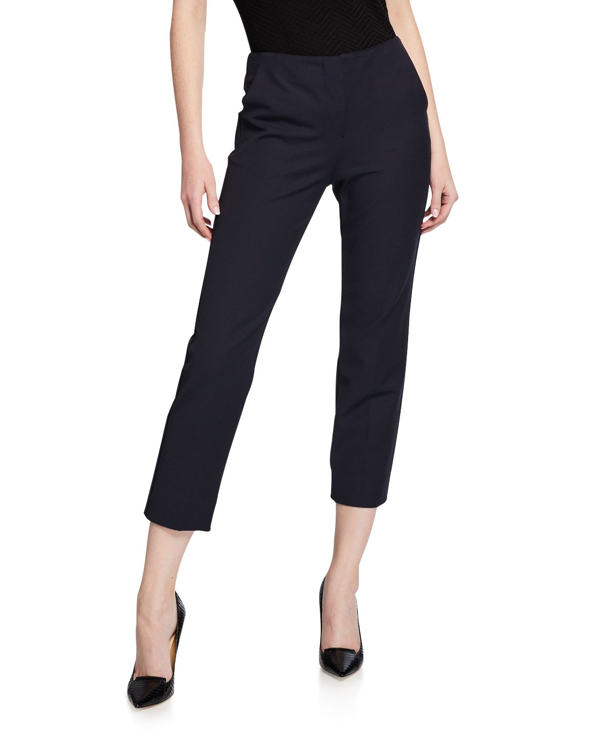 Emporio Armani Straight-Leg Cotton-Stretch Pants
