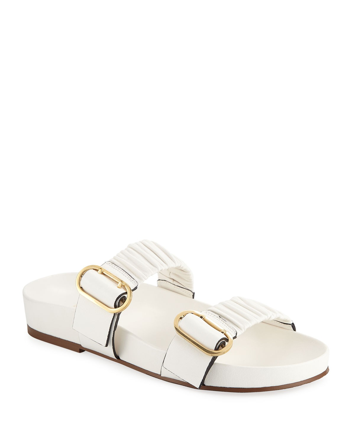 Stuart Weitzman Shalene Buckled Leather Slide Sandals