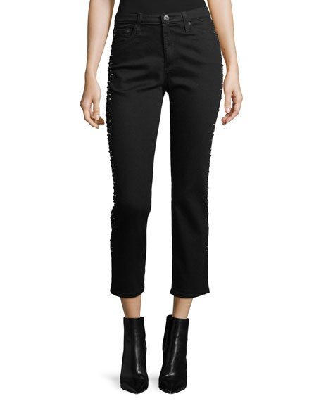 AG Isabelle Straight-Leg Cropped Jeans with Studded Trim