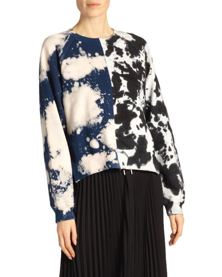 Proenza Schouler White Label Long-Sleeve Cropped Tie-Dye Sweatshirt