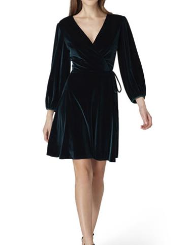 Tahari ASL Velvet Faux-Wrap Dress