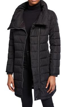 DKNY Asymmetric-Zip Packable Puffer Coat
