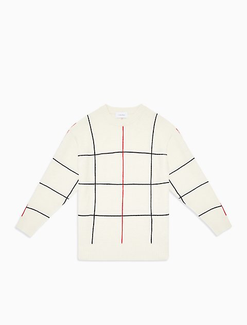 格纹羊毛针织衫