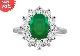 3克拉绿宝石镶嵌钻石戒指