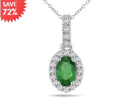 6×44mm 绿宝石镶嵌钻石吊坠