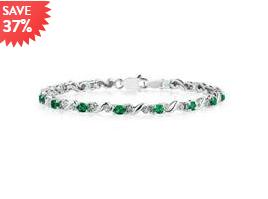10K 白金绿宝石镶嵌连接手链