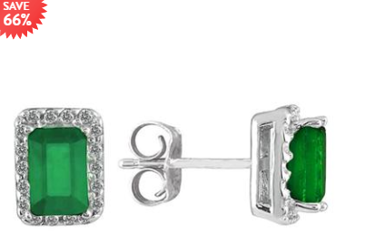14K 白金 11/10克拉绿宝石镶嵌钻石耳钉