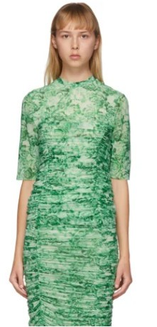 GANNI Green Mesh Floral T-Shirt