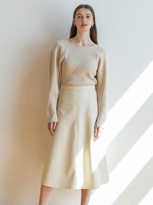 奶油色环保皮半裙
