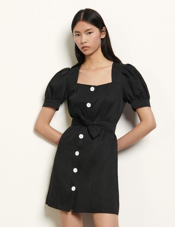 方领排扣连衣裙