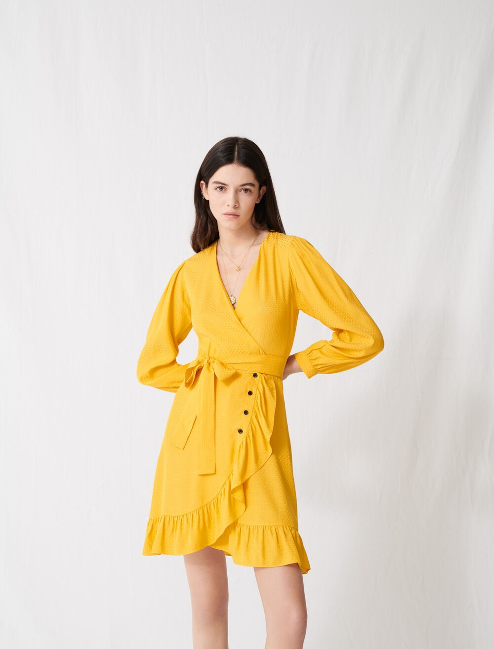 sunny yellow wrap tie dress