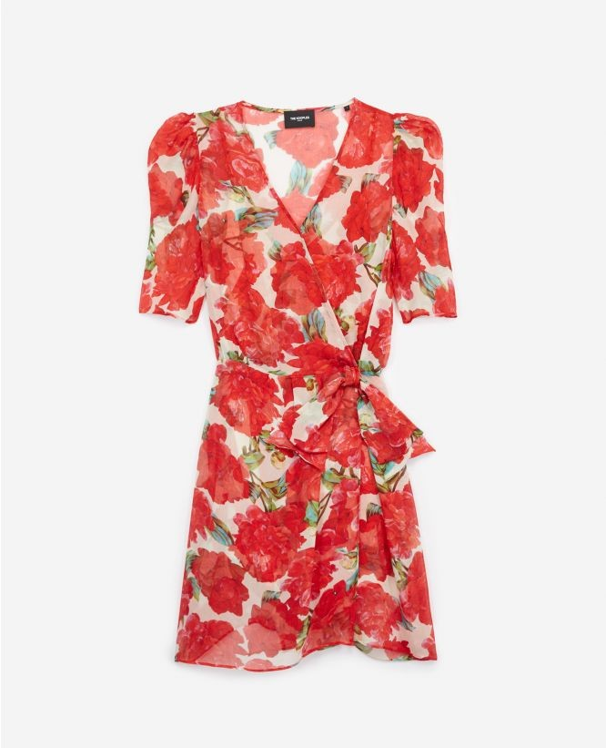 红色碎花连衣短裙