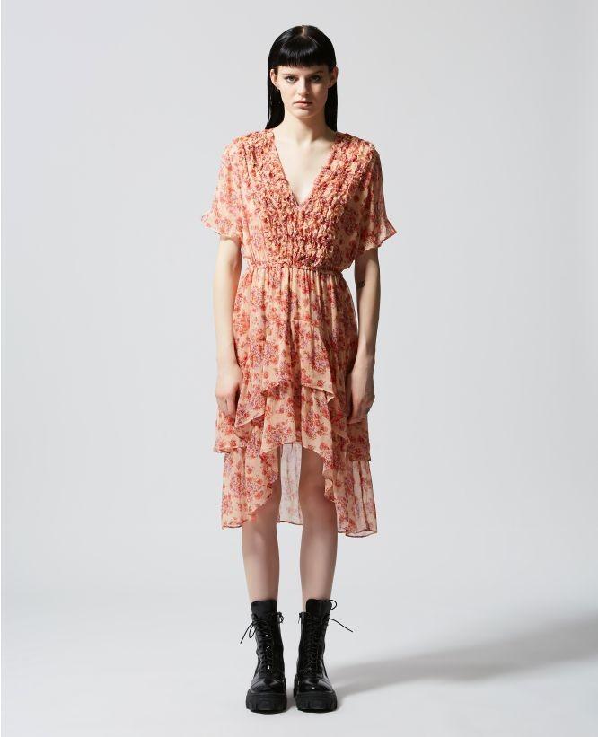 粉色 V 领花瓣长裙