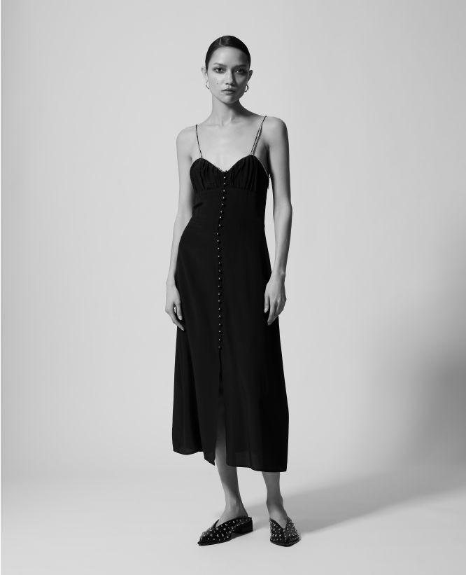 黑色吊带长裙