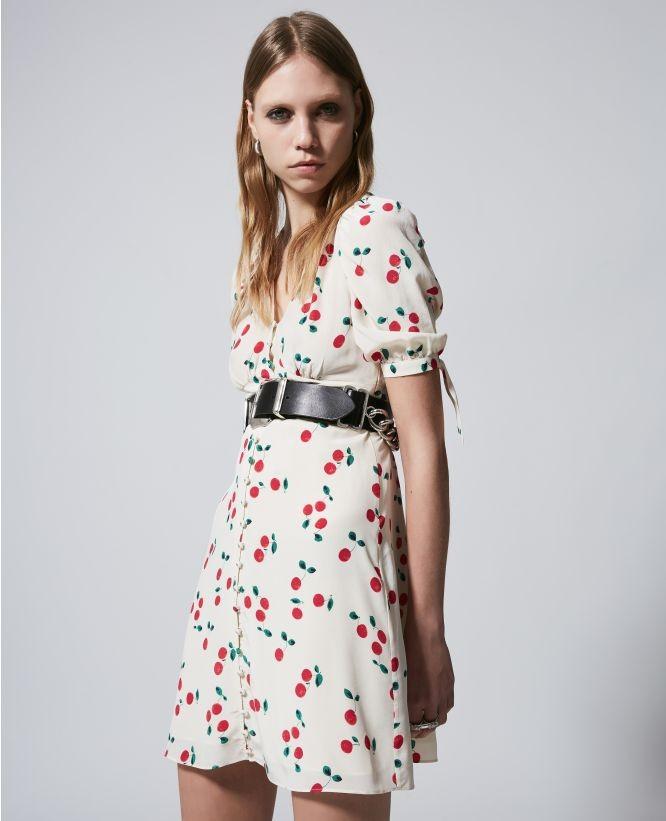 白色丝质樱桃短裙