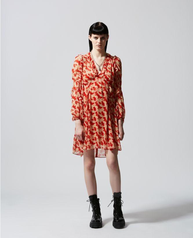 红色褶边印花裙
