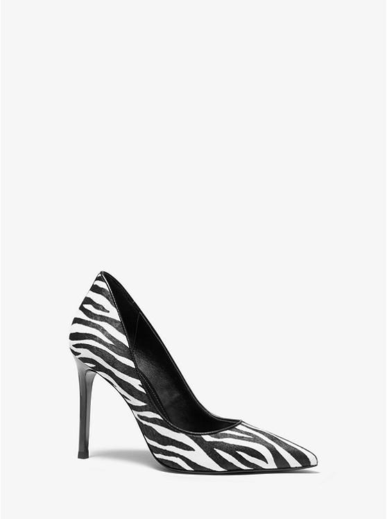 斑马纹尖头高跟鞋