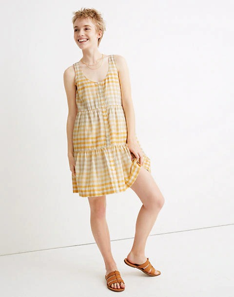 格纹无袖连衣裙