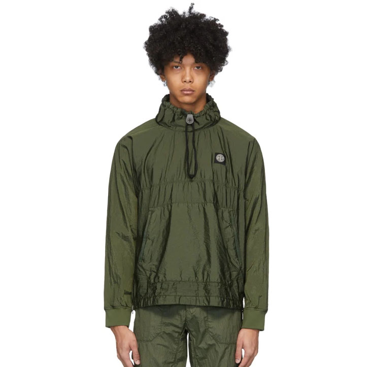 Khaki Nylon Metal Ripstop Jacket