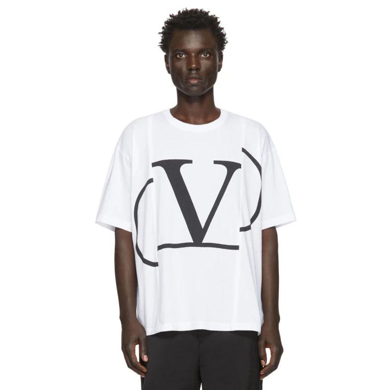 Valentino White Deconstructed VLogo T-Shirt