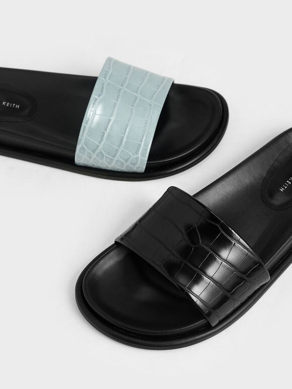 Croc-Effect Slide Sandals