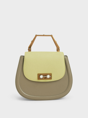 Geometric Top Handle Saddle Bag