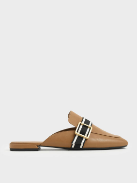 Striped Strap Loafer Mules