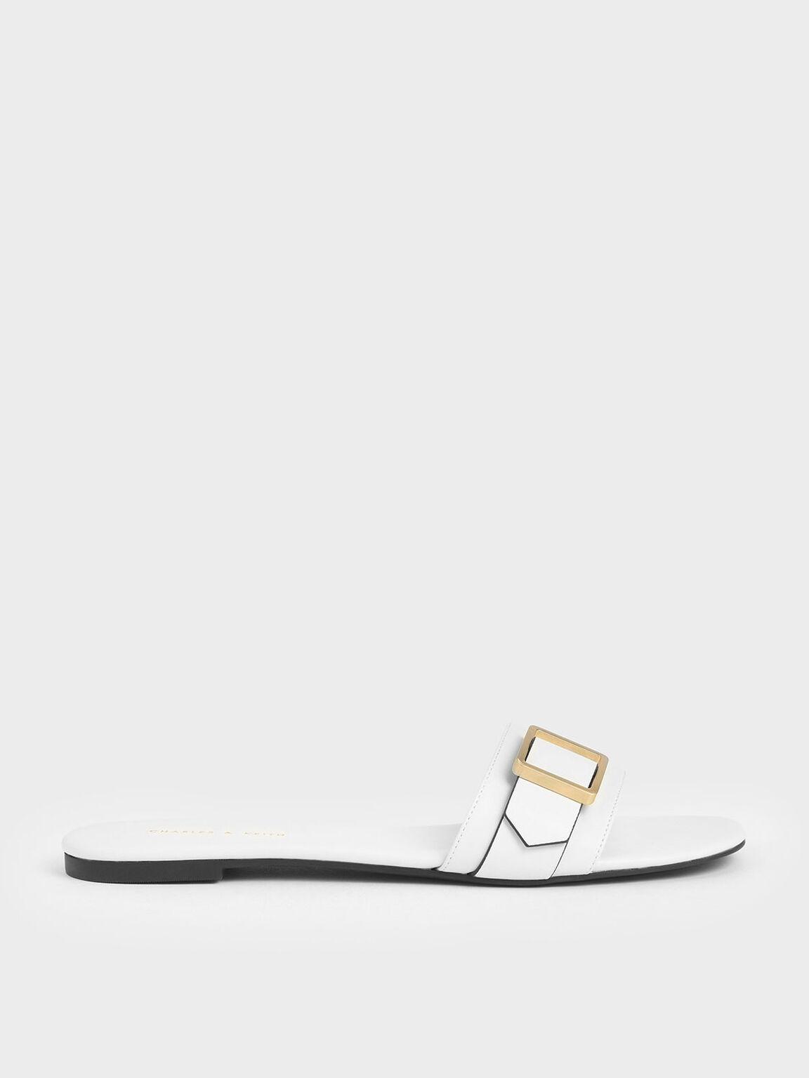 Frame Buckle Slide Sandals