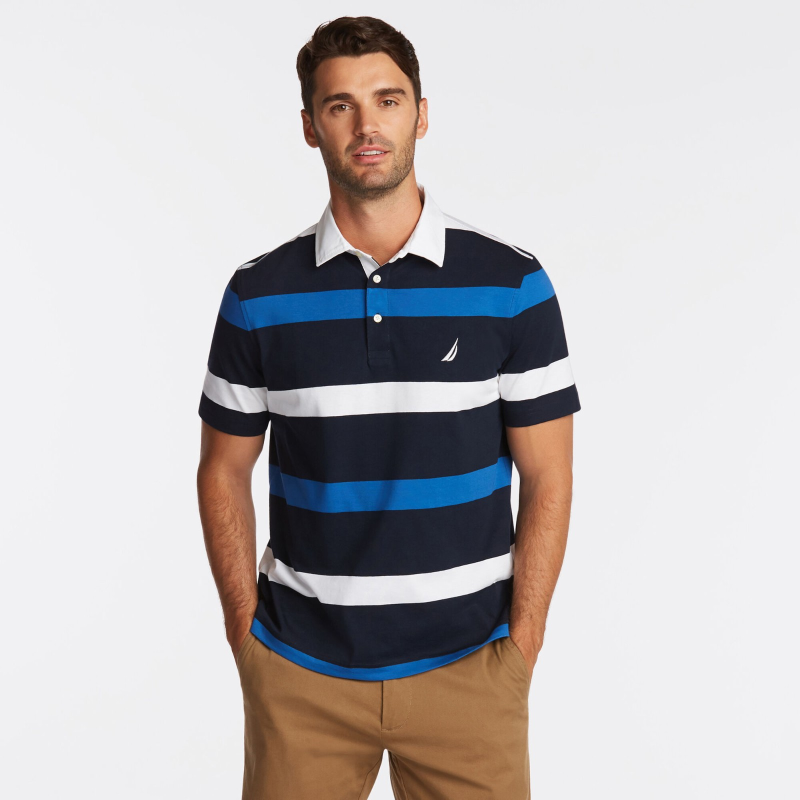 条纹 Polo 短袖