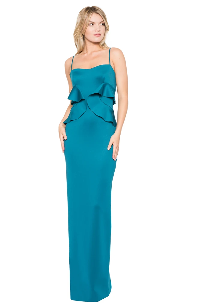 蓝色长连衣裙