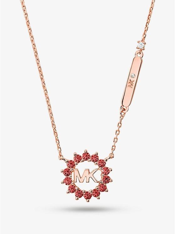 14K玫瑰镀金纯银标志项链