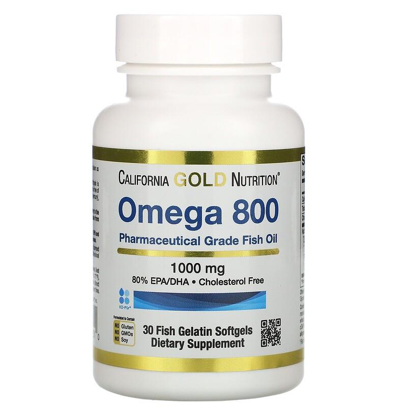 California Gold Nutrition, Omega 800 Pharmaceutical Grade Fish Oil, 80% EPA/DHA, Triglyceride Form, 1,000 mg, 30 Fish Gelatin Softgels鱼油