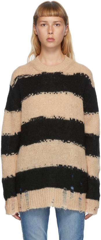 黑色 & 驼色条纹毛衣