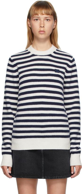 海军蓝 & 白色 Breton 条纹羊毛毛衣