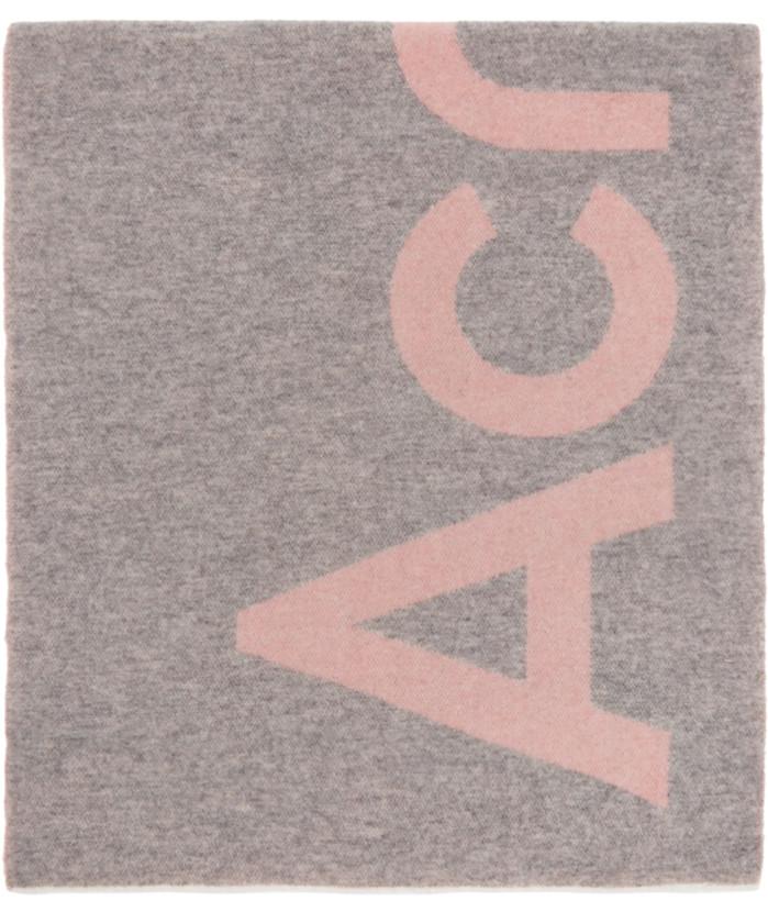 粉色 & 灰色徽标围巾